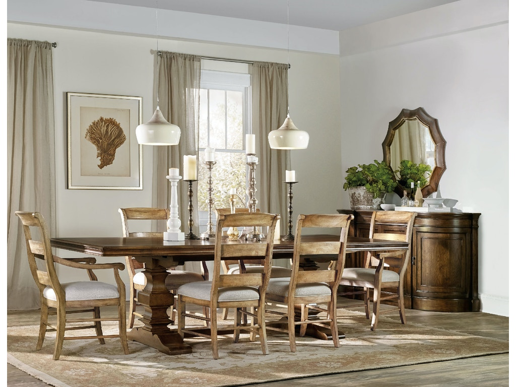Hooker Furniture Dining Room Archivist Trestle Table W 2