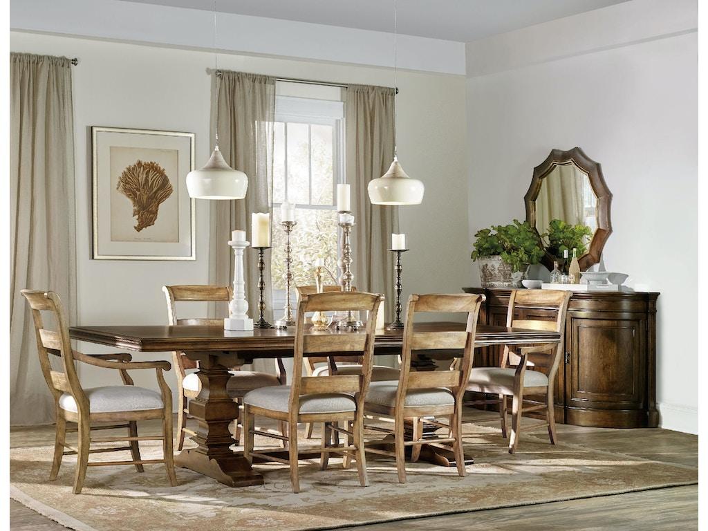 Hooker Furniture Dining Room Archivist Trestle Table W 2 18in Leaves 5447 75206 Flemington