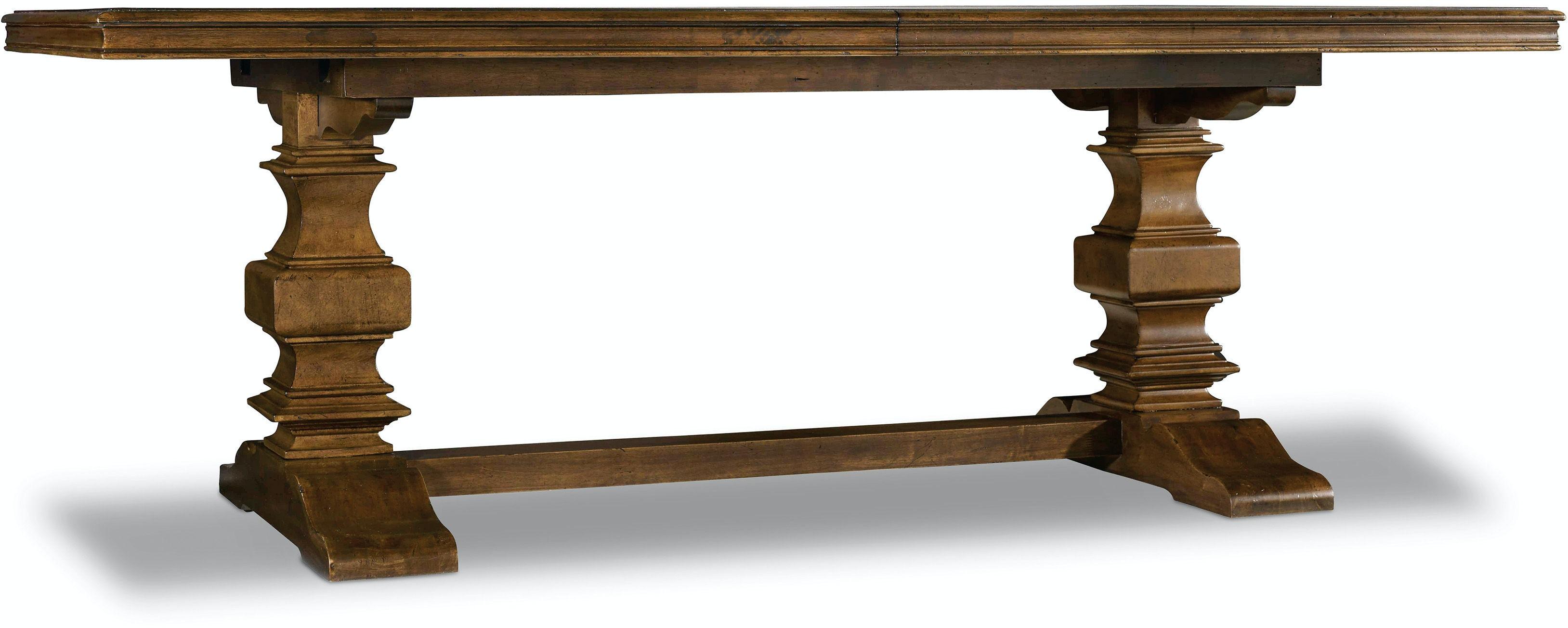 hooker furniture dining room archivist trestle table w 2 18in leaves 5447 75206. Black Bedroom Furniture Sets. Home Design Ideas
