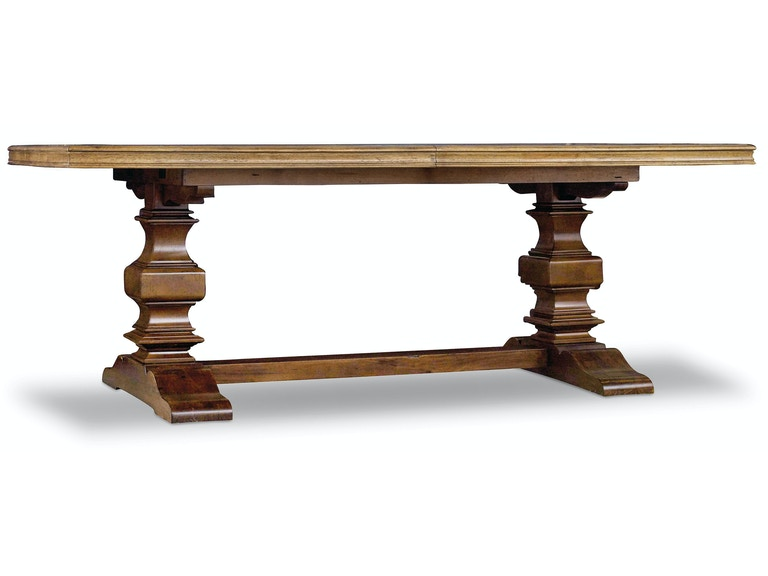 Hooker Furniture Archivist Trestle Table w/2-18in Leaves 5447-75206-TOFFEE