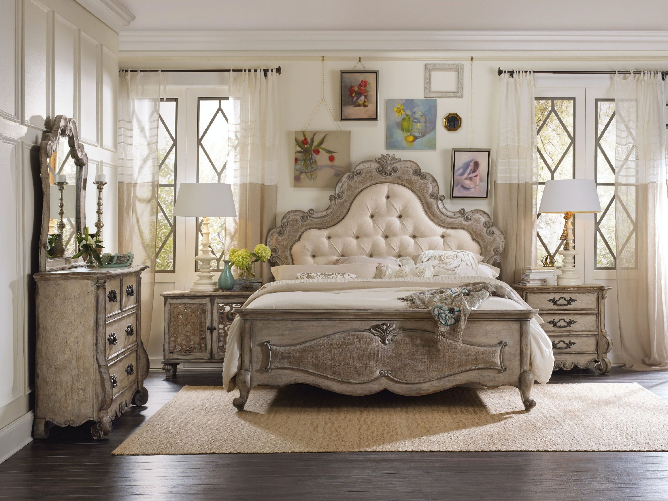 Hooker Furniture Bedroom Chatelet King Upholstered Panel Bed 5450 ...