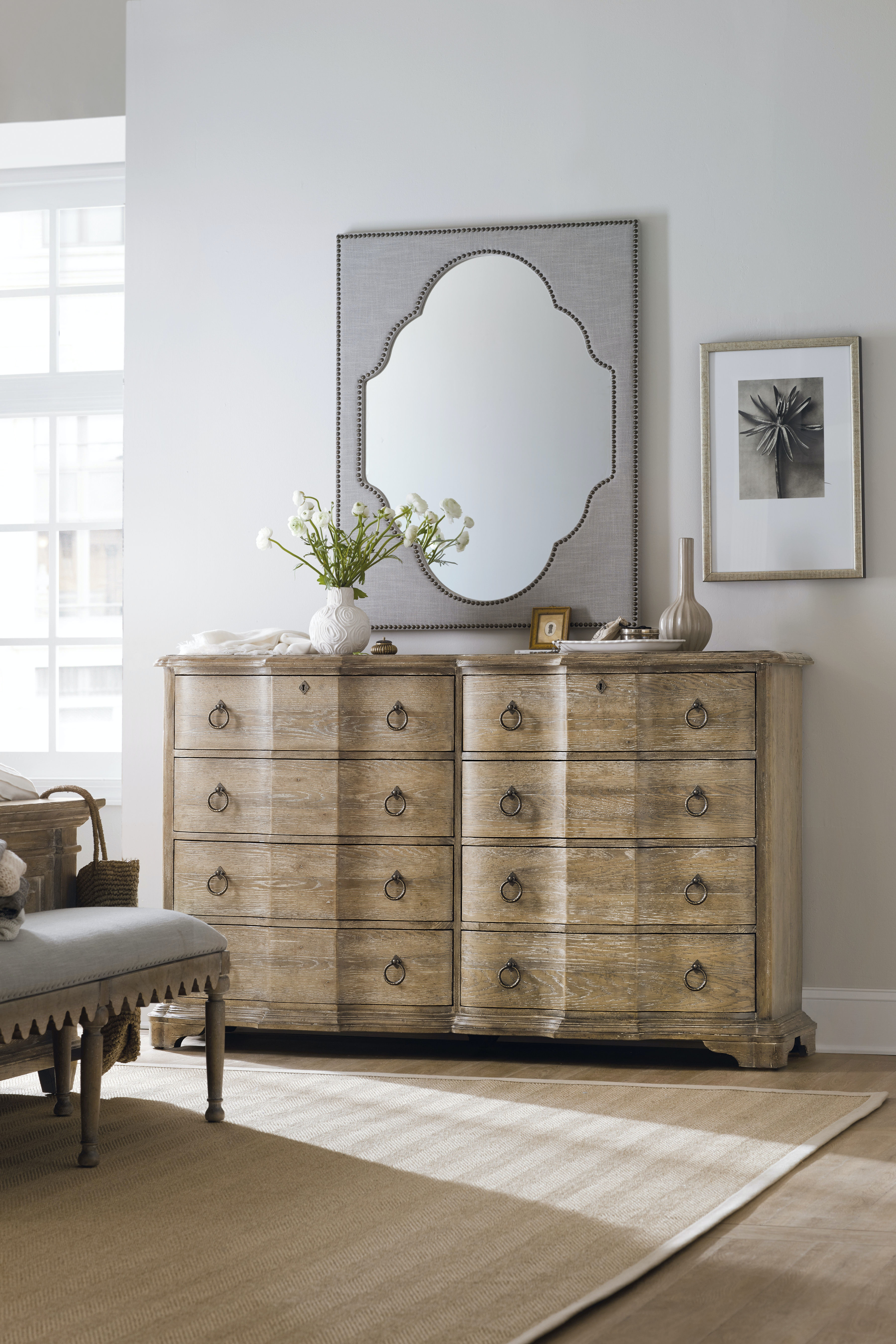 Hooker Furniture Boheme Nourmand Linen Wrapped Mirror HS575090008GRY From  Walter E. Smithe Furniture + Design