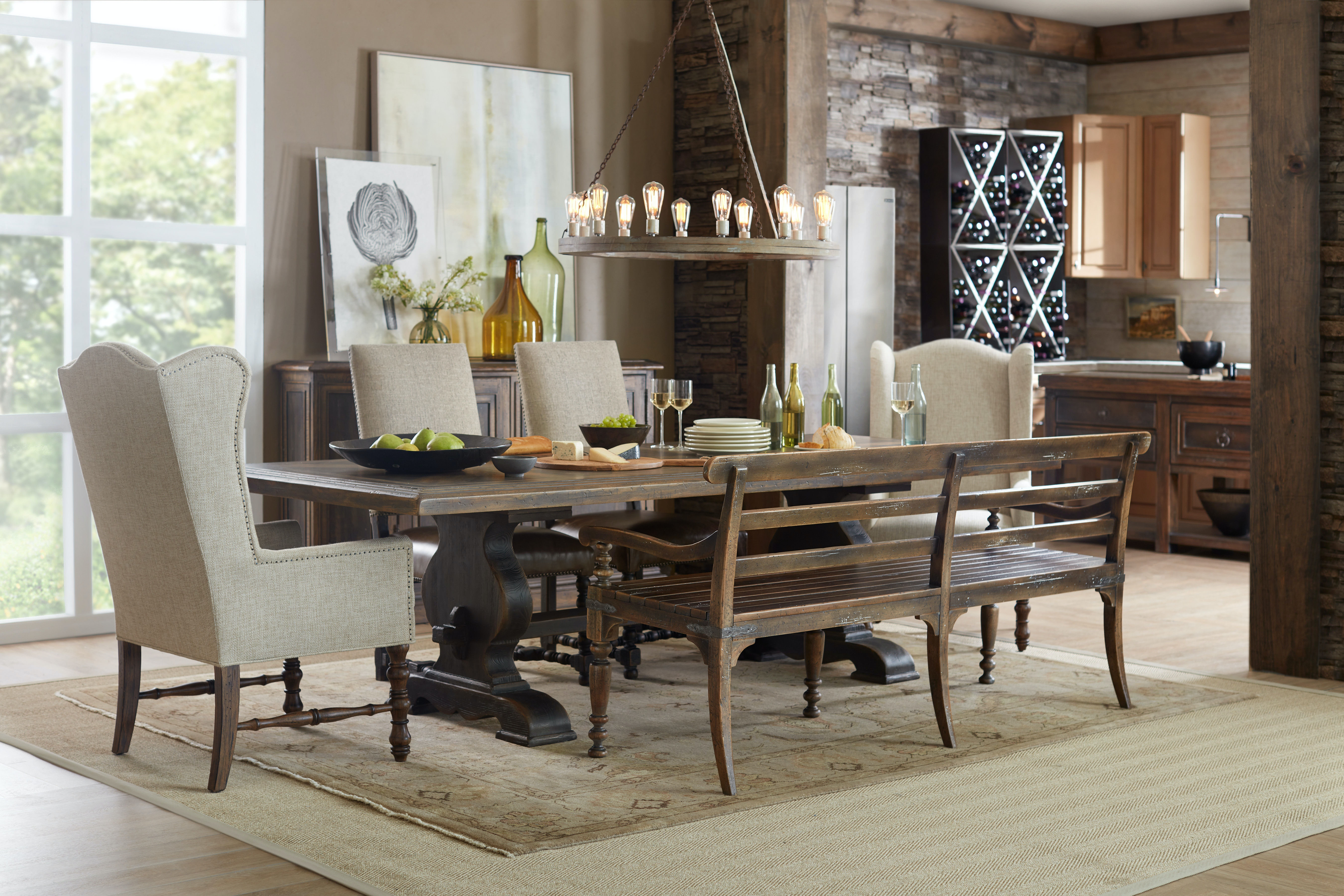 Hooker Furniture Hill Country Helotes Dining Bench 5960 75315 BRN