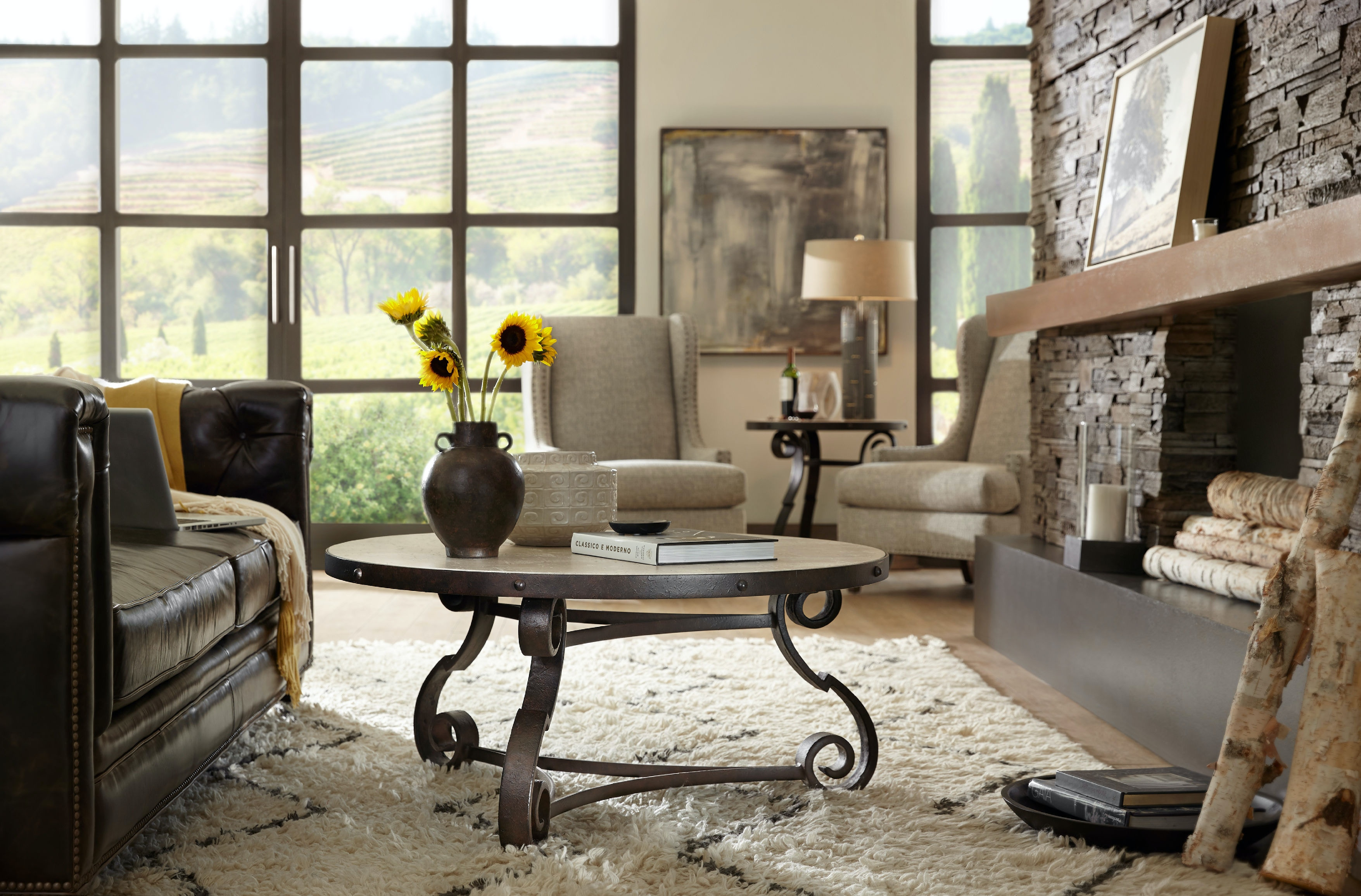 Hooker Furniture Living Room Luckenbach Metal and Stone End Table ...