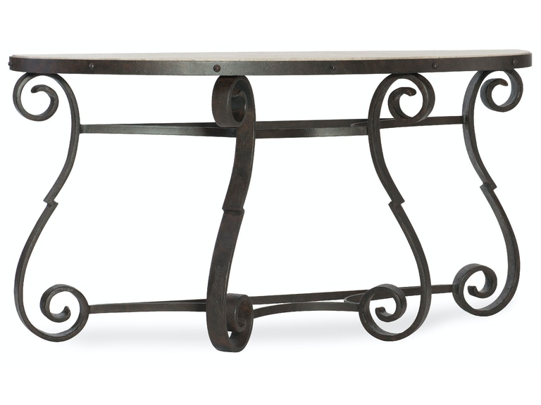 Hooker Furniture Luckenbach Metal and Stone Demilune Console 5960-80151-MTL