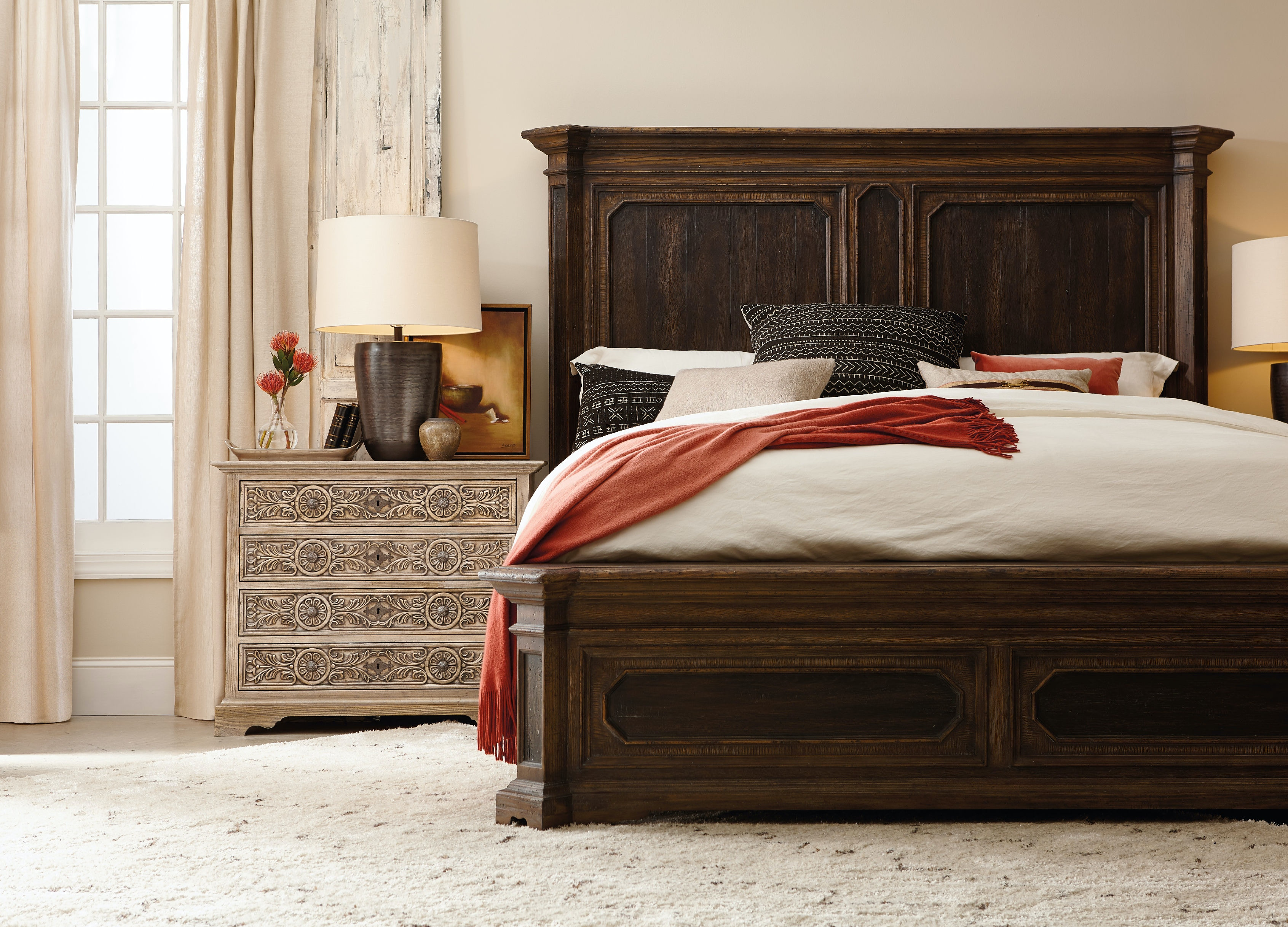 queen brown pc bedroom chest dark set juararo