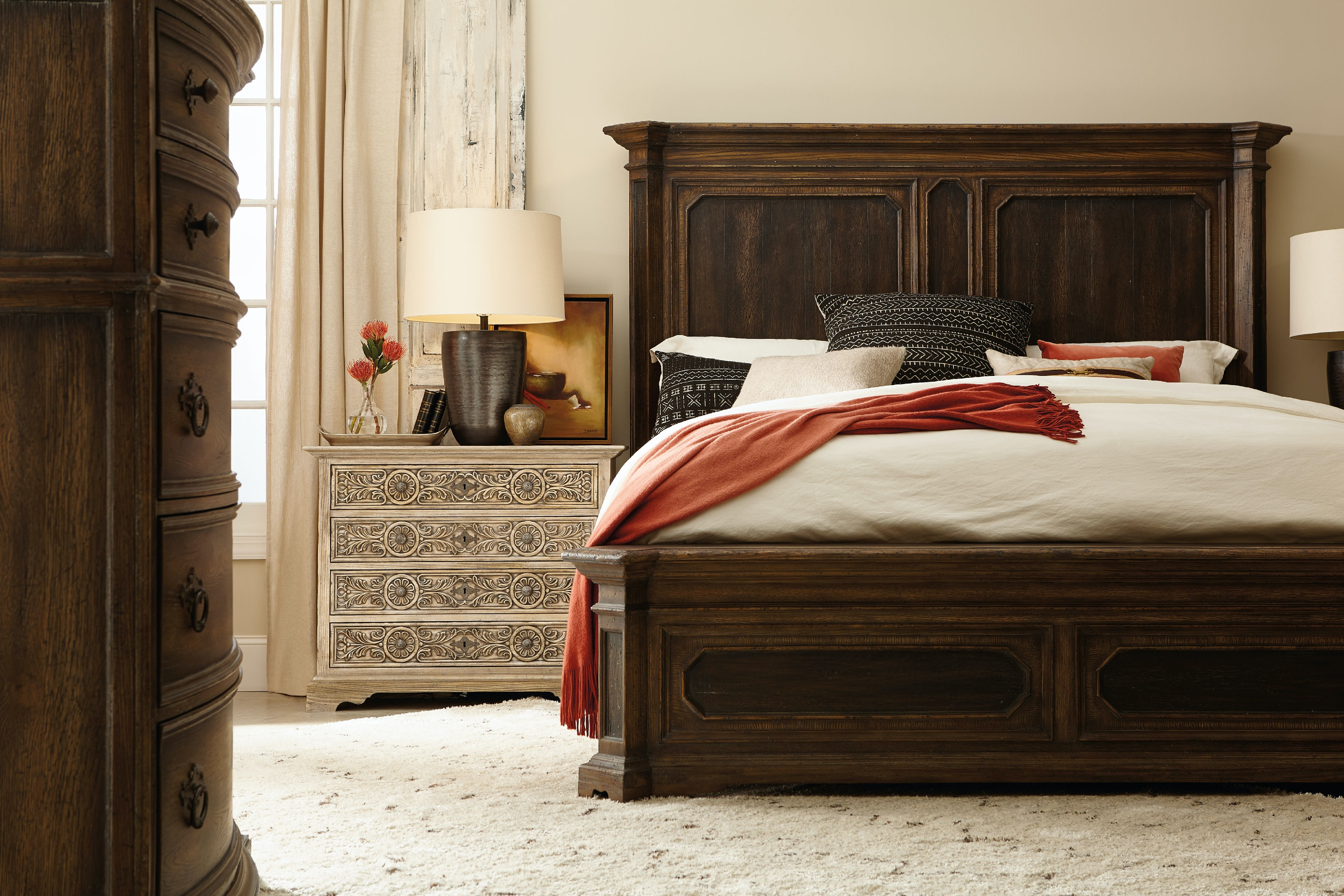 High Quality Hooker Furniture Woodcreek King Mansion Bed 5960 90266 MULTI