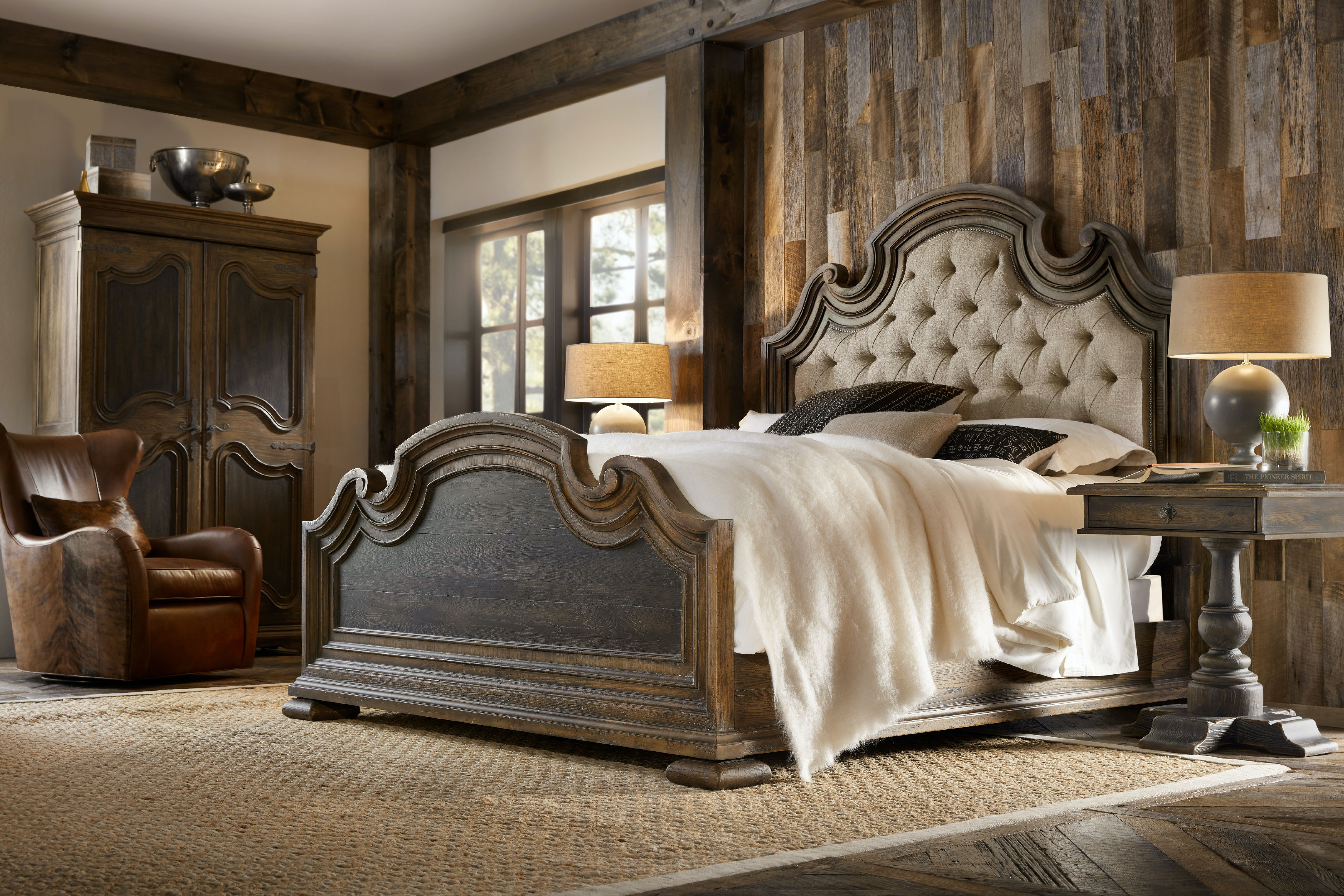 Hooker Furniture Bedroom Fair Oaks King Upholstered Bed 5960-90866-MULTI