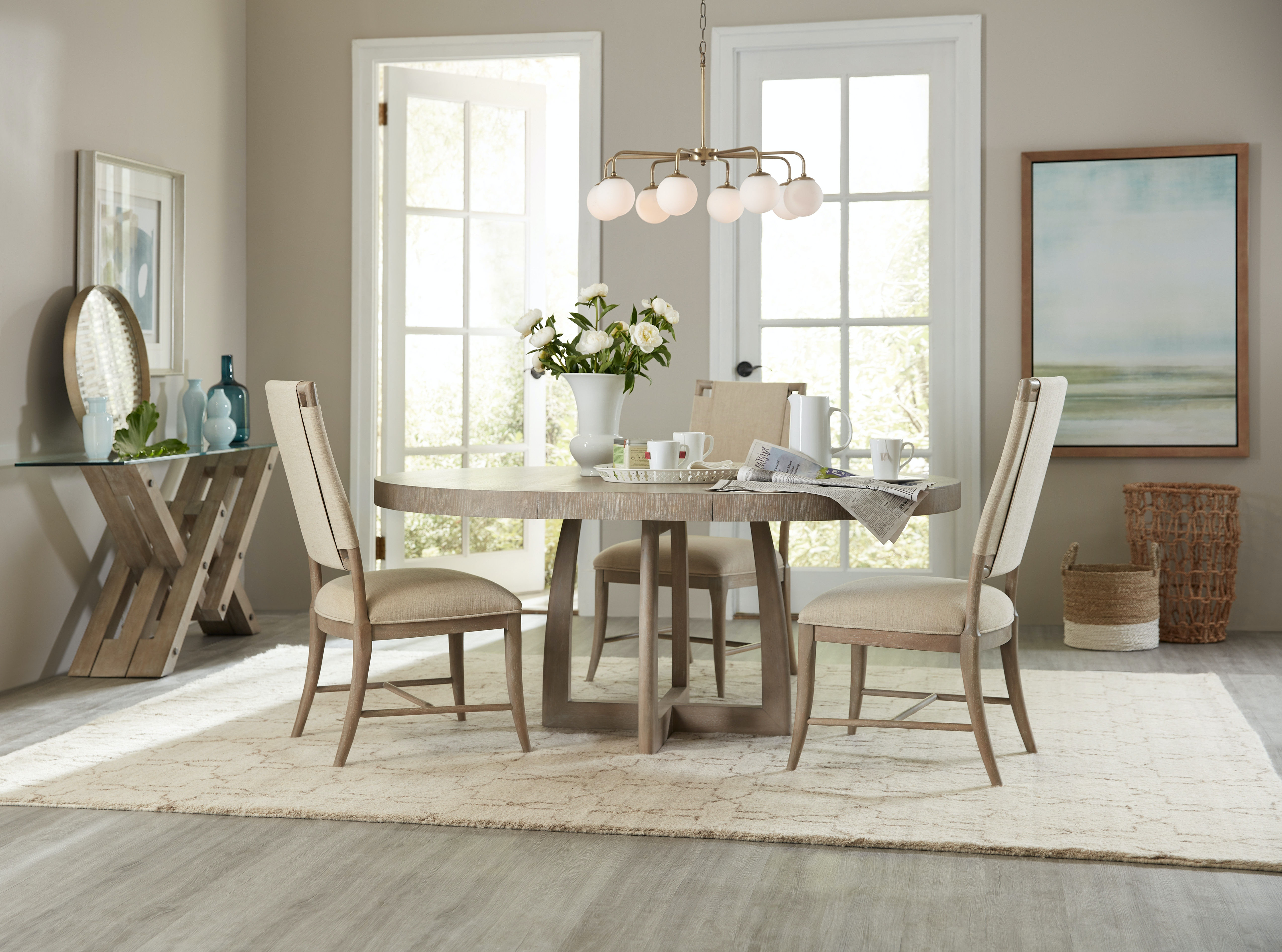Hooker Furniture Affinity 48in Round Pedestal Dining Table W 1 18in Leaf 6050