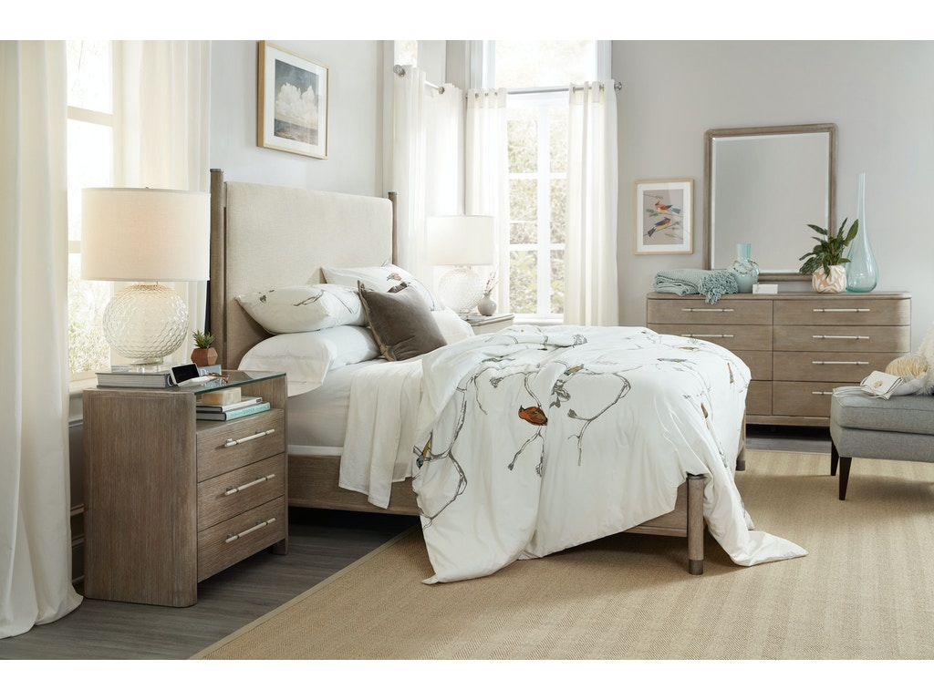 Hooker furniture bedroom affinity king upholstered bed for Hooker bedroom furniture