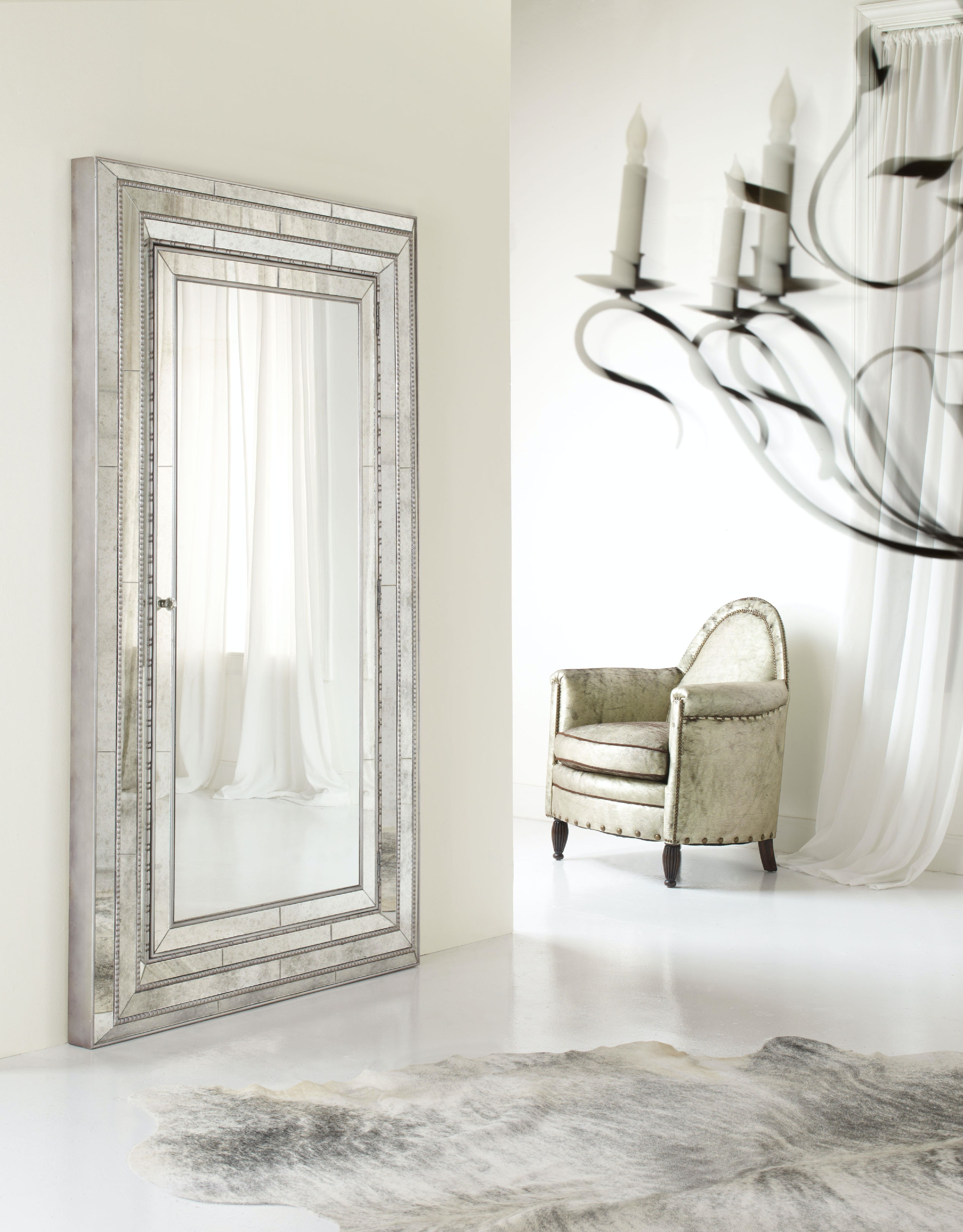 Captivating Hooker Furniture Accents Melange Glamour Floor Mirror W/Jewelry Armoire  Storage