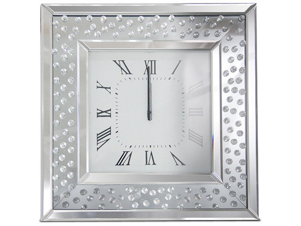 Square wall clock wcrystal accents amafs mntrl280 square wall clock wcrystal accents amafs mntrl280 at walter e smithe furniture and design amipublicfo Choice Image
