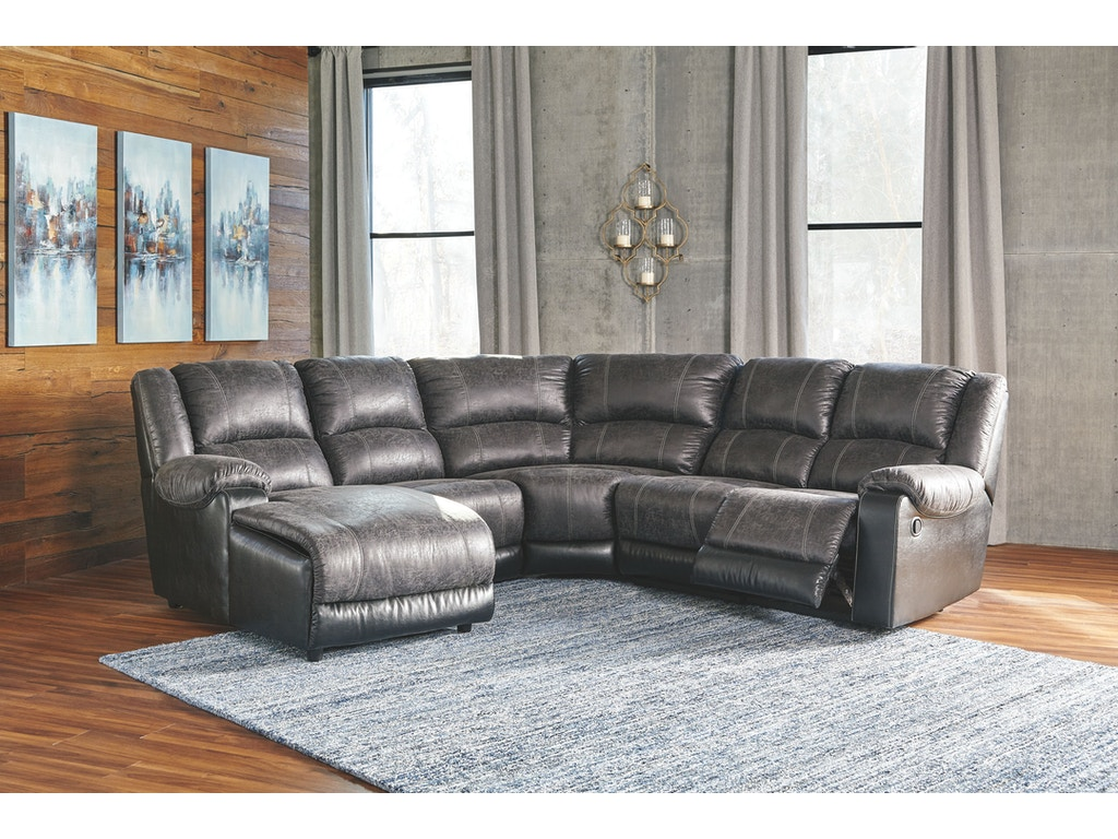 Nantahala slate reclining sectional w chaise for Ashley reclining chaise