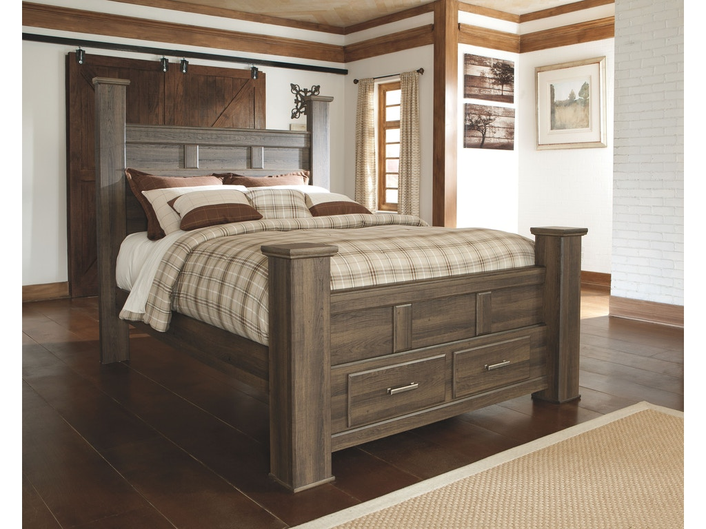 Signature Design By Ashley Bedroom Queen Poster Storage Footboard B251 64s Furniture Plus Inc
