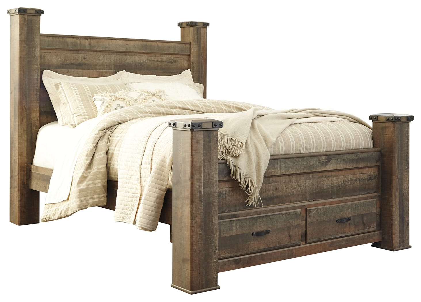 Signature Design By Ashley Bedroom Trinell Queen Poster Bed With 2 Storage Drawers B446b41