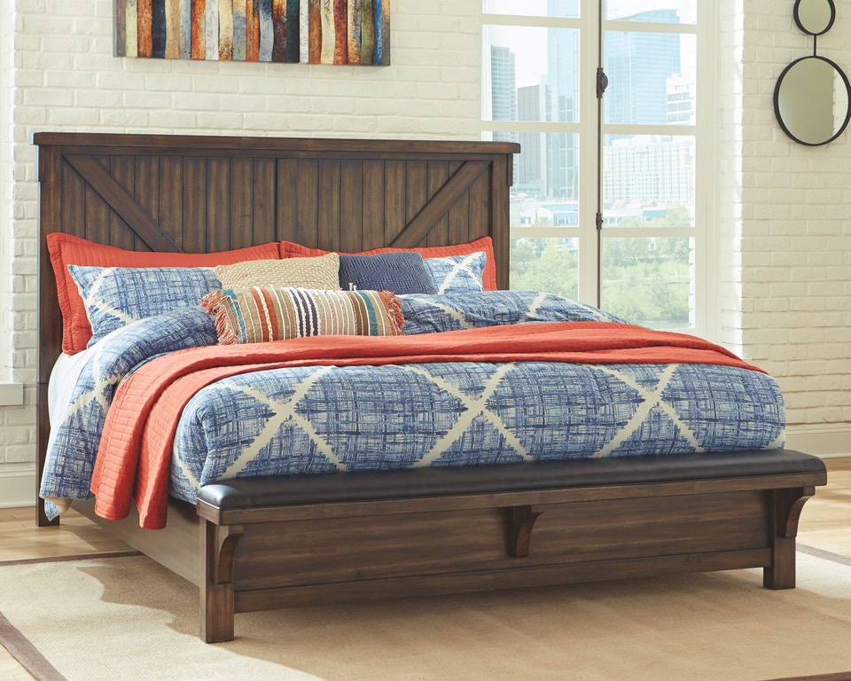 Signature Design By Ashley Bedroom Lakeleigh Queen Panel Bed With Upholstered Bench B718b7