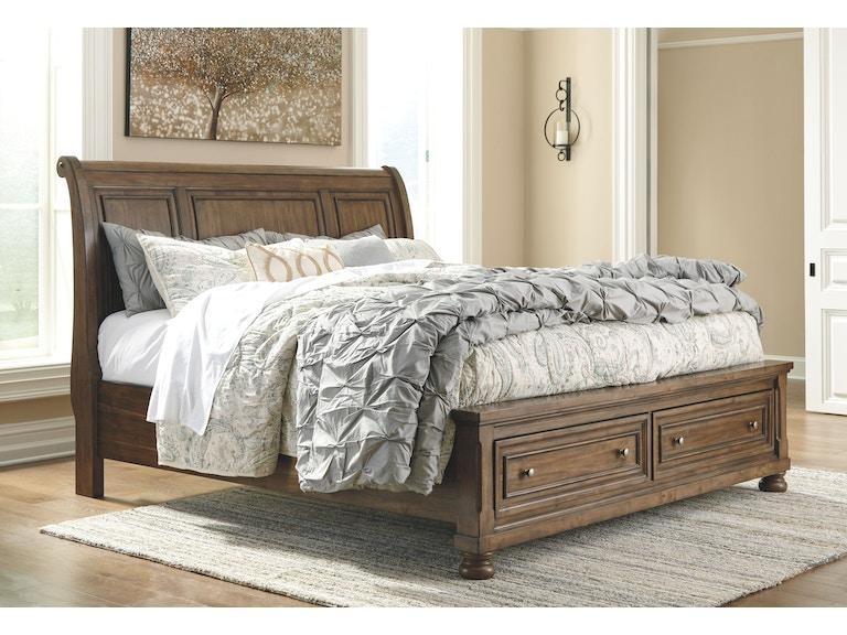 with main oak leather sleigh king size bed material only cherry headboard