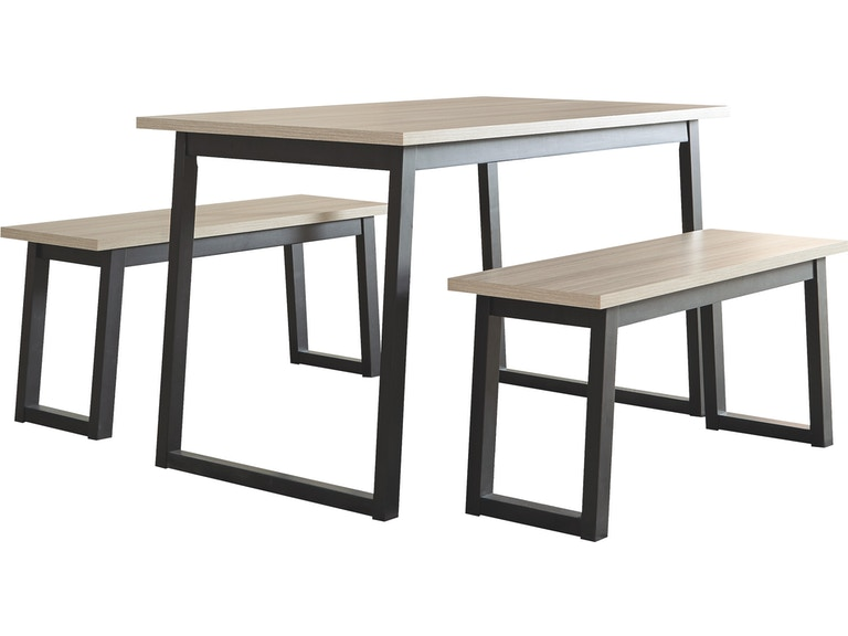 Signature Design By Ashley Waylowe Dining Room Table And Benches Set Of 3 Fulton Stores