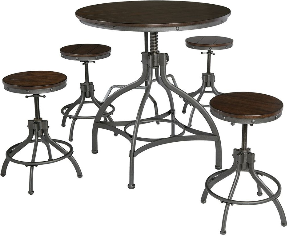 Peachy Odium Counter Height Dining Room Table And Bar Stools Set Of 5 Andrewgaddart Wooden Chair Designs For Living Room Andrewgaddartcom