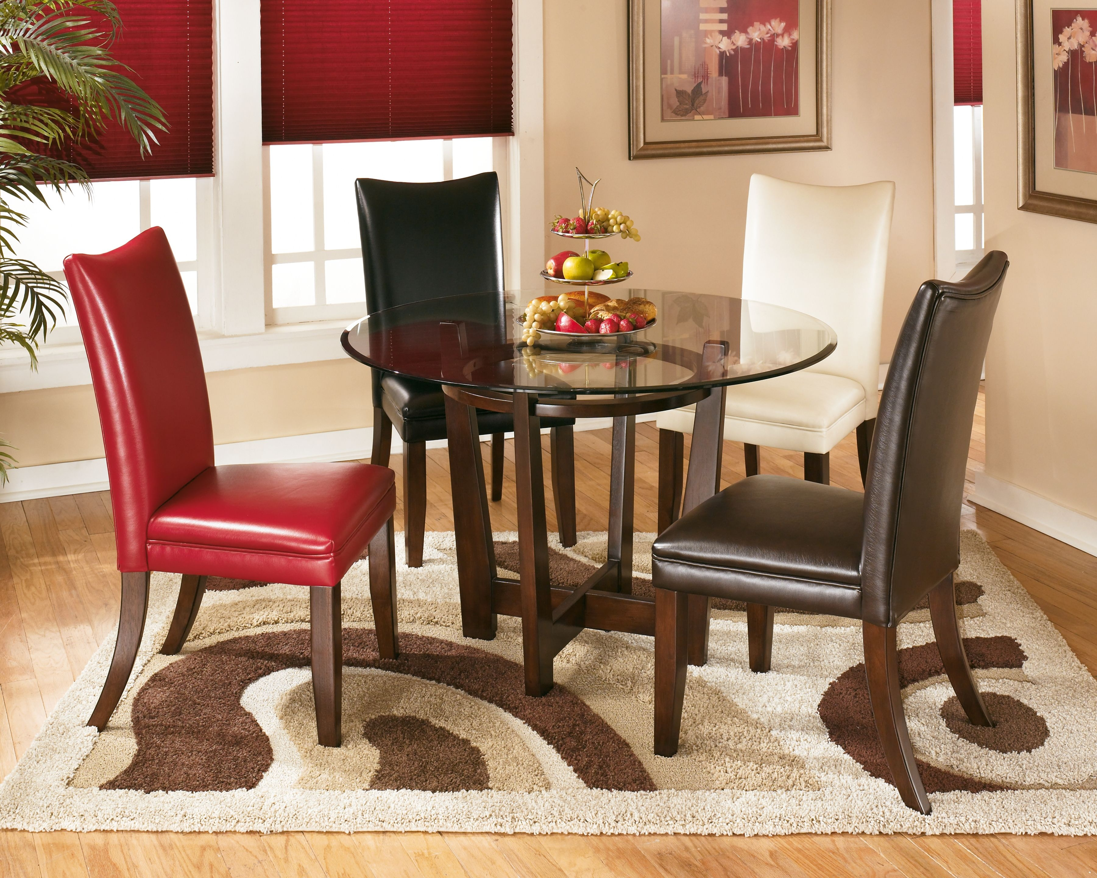arlington round sienna pedestal dining room table w chestnut finish. d357-15. round dining room table arlington sienna pedestal w chestnut finish