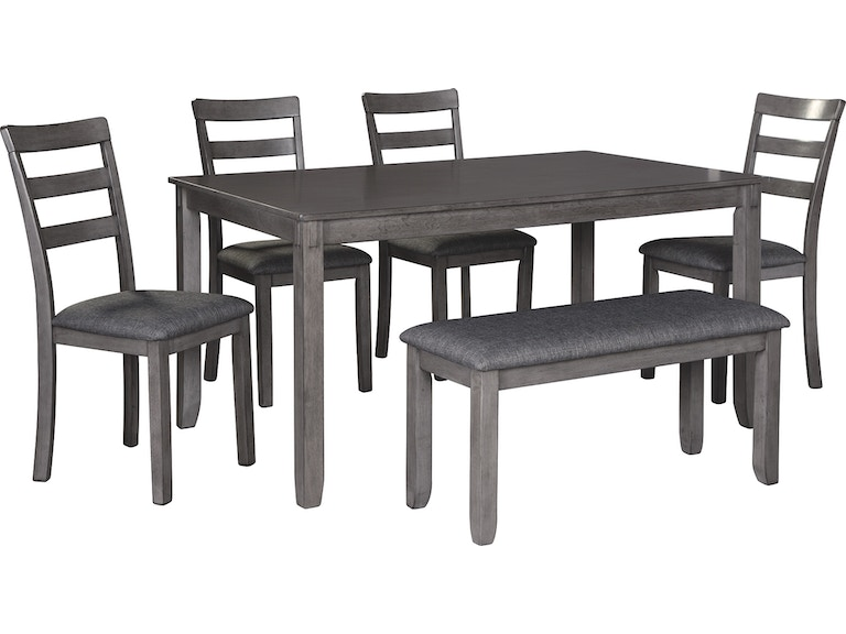 Signature Design By Ashley Bridson Dining Room Table And Chairs With Bench Set Of 6 D383