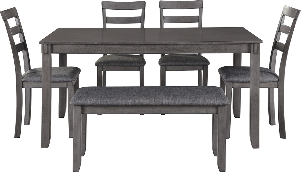 Signature Design By Ashley Bridson Dining Room Table And Chairs With Bench Set Of 6 D383 325