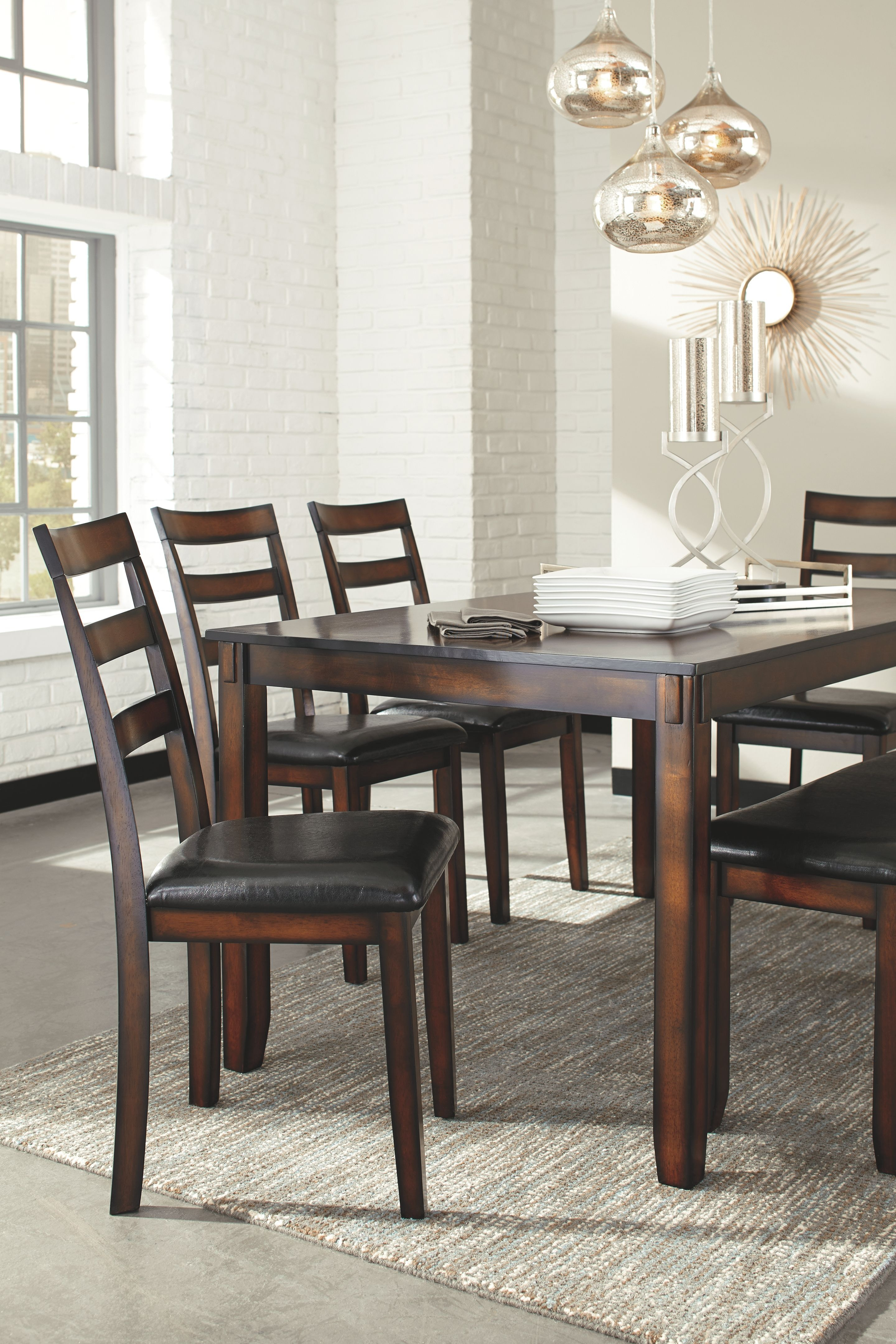 Brown Ashley Furniture Signature Design Coviar Dining Room Table And Chairs With Bench Set Of 6