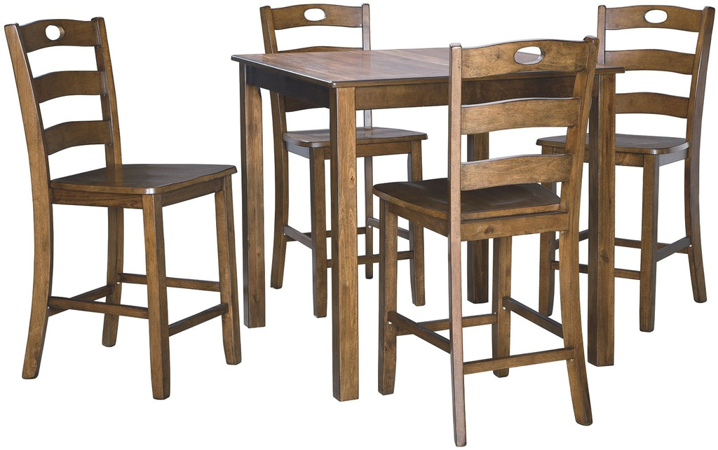 Signature Design By Ashley Hazelteen Counter Height Dining Room Table And Bar Stools Set Of 5
