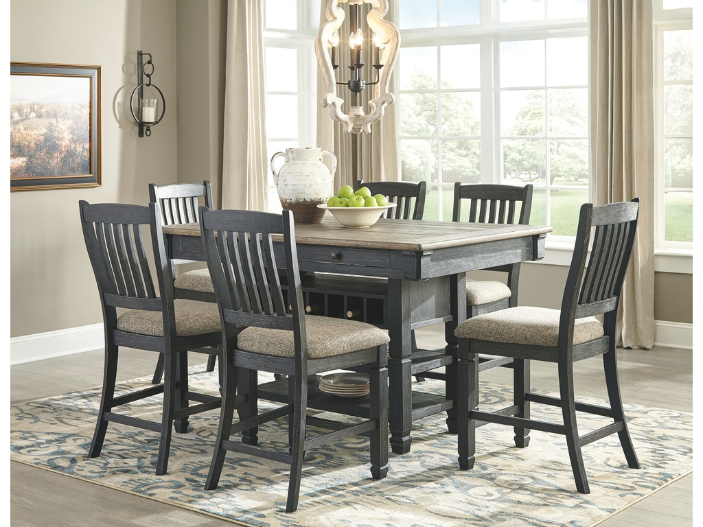Signature design by ashley rect dining room counter table for Dining room table 32 wide