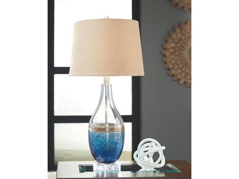 Signature Design By Ashley Lamps And Lighting Glass Table Lamp 2cn