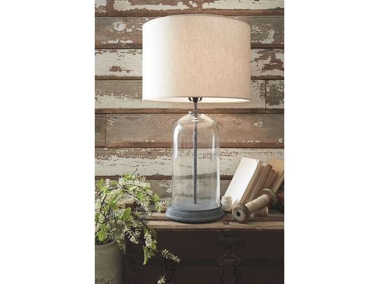 Signature Design By Ashley Lamps And Lighting Glass Table Lamp 1cn