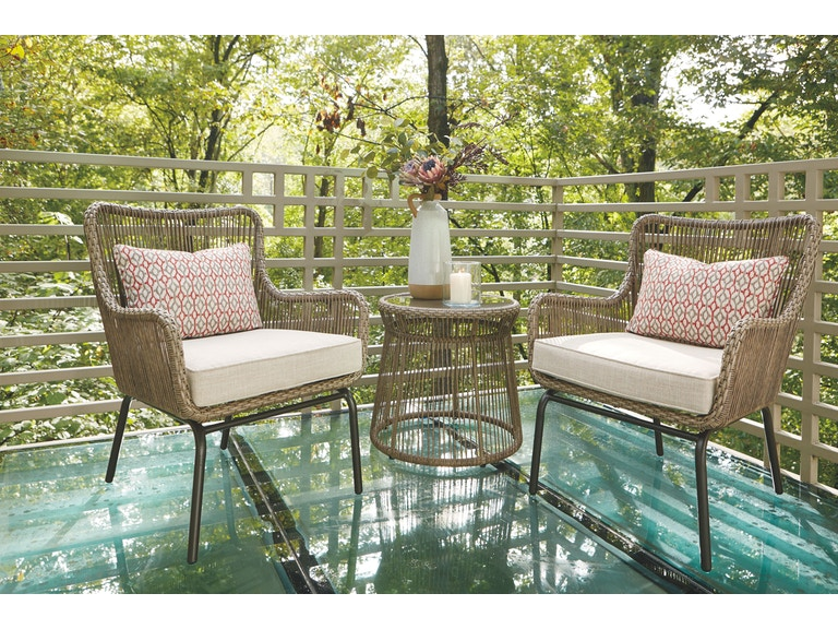 Signature Design By Ashley Outdoor Patio Chairs W Cush Table Set 3