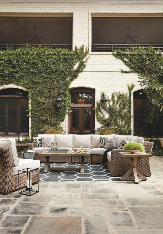 Signature Design by Ashley Outdoor/Patio Beachcroft 5 ... on Beachcroft Beige Outdoor Living Room Set id=70755
