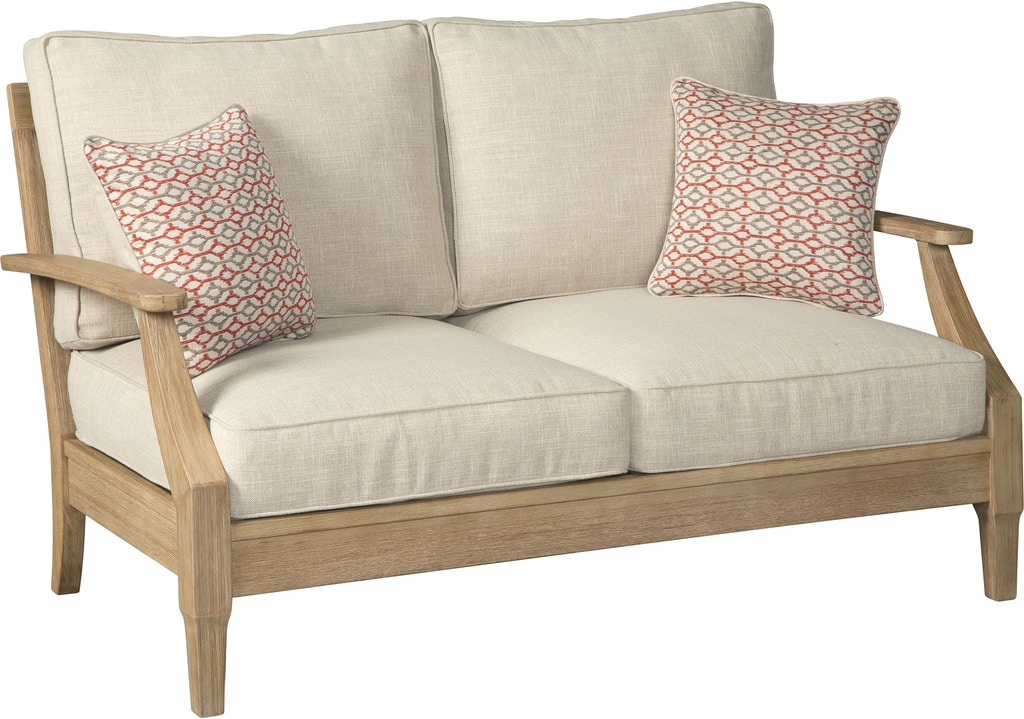 Tremendous Signature Design By Ashley Outdoor Patio Clare View Loveseat Beutiful Home Inspiration Aditmahrainfo