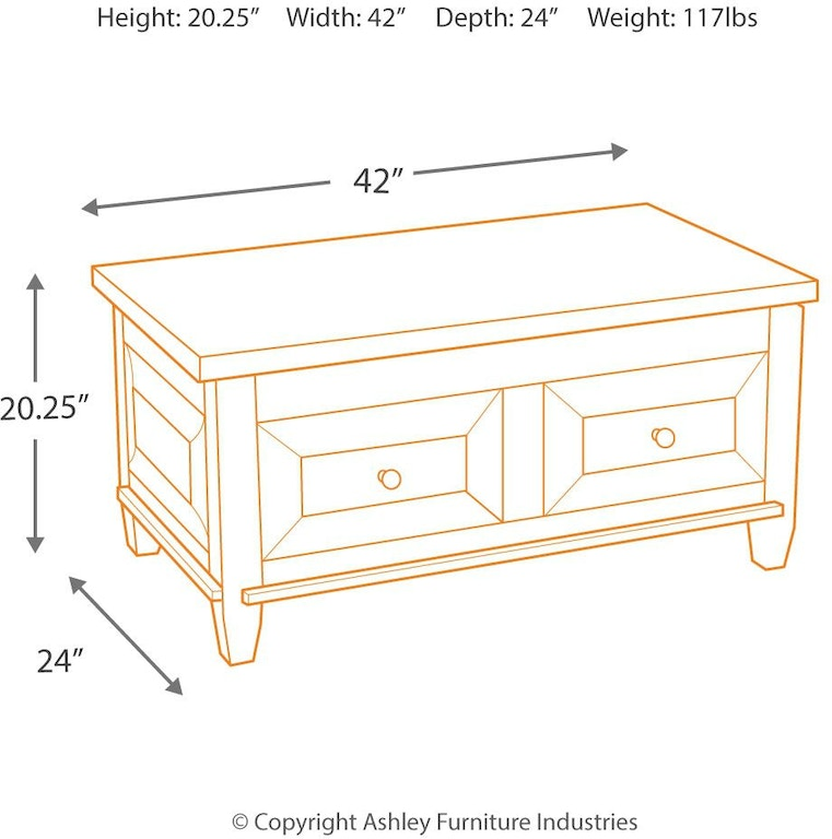 Hindell Park Coffee Table.Signature Design By Ashley Living Room Hindell Park Coffee Table