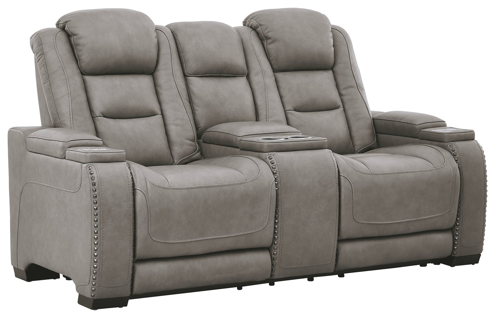 Signature Design By Ashley Living Room The Man Den Power Reclining Loveseat With Console U8530518