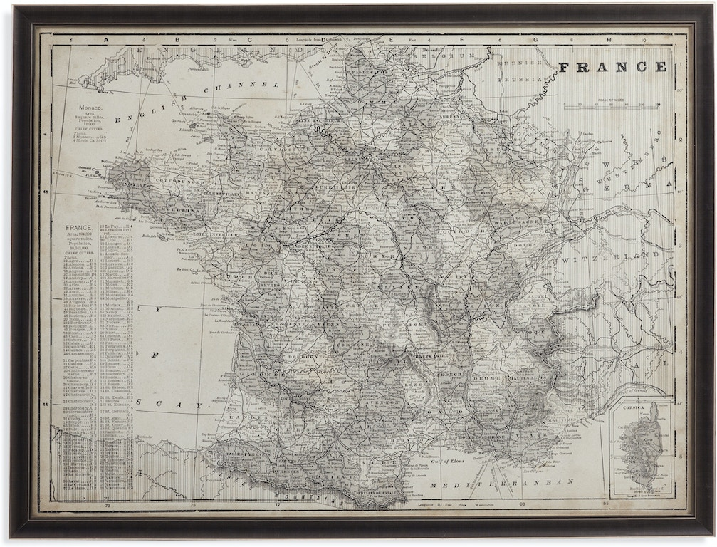 Map 347.Bassett Mirror Company Accessories Antique Map Of France 9900 347
