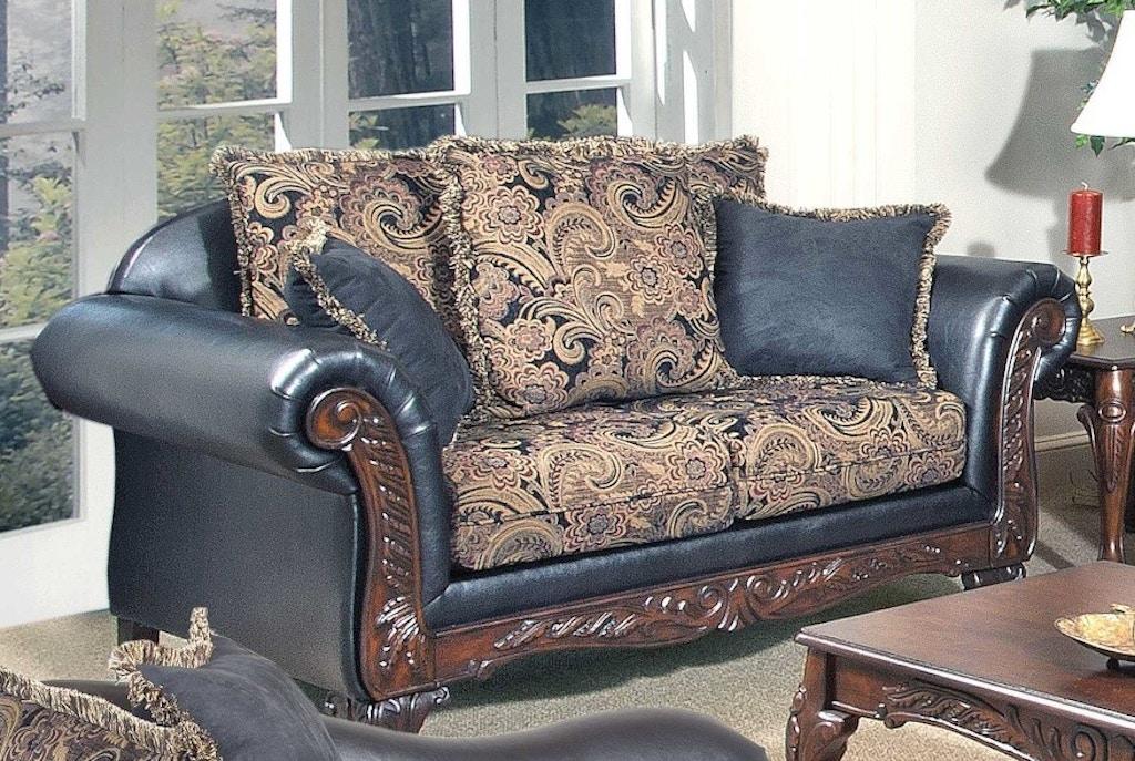 Astounding Bernards Living Room San Marino Ebony Salias Loveseat 2826L Machost Co Dining Chair Design Ideas Machostcouk