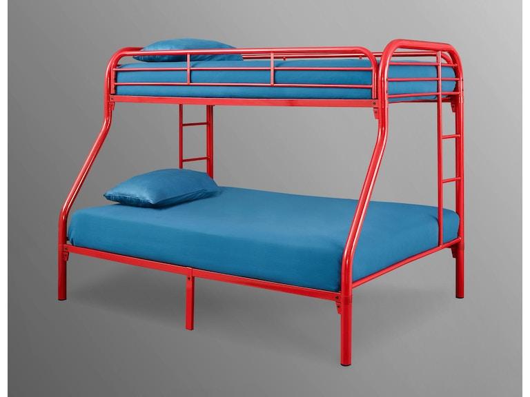 Bernards Bedroom Palmer Twin Over Full Metal Bunk Bed Red 3907
