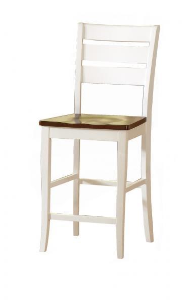Bernards Bar And Game Room Ridgewood Barstool   White/Mahogany Finish 5917  At Gilliam Thompson Furniture
