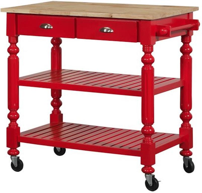 Bernards Payson Red Kitchen Cart 7126 - Butterworths of ...