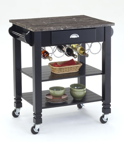 Bernards Black Marble Top Kitchen Island 7432