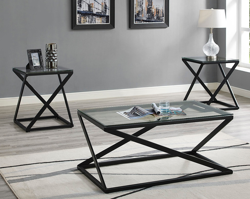 Bernards Living Room Lodi Metal And Glass 3 Pack Occasional Tables 9684 011  At Gilliam Thompson Furniture