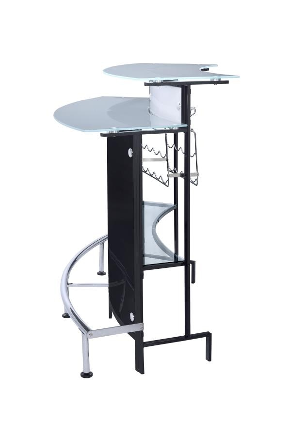 Coaster Bar Units And Bar Tables Arched Black Bar Table With Frosted Glass  Counter Tops 100139