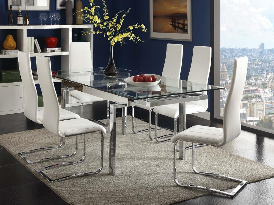 Charming Coaster Modern Dining Contemporary Glass Dining Table With Leaves 106281