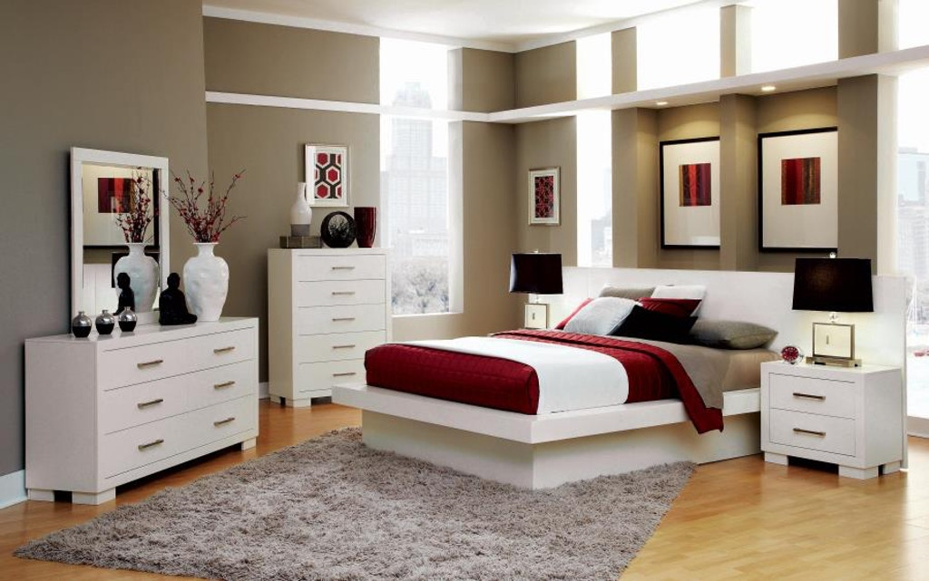 Coaster Bedroom Jessica Contemporary White California King Four Piece Set 202990kw S4 New Look