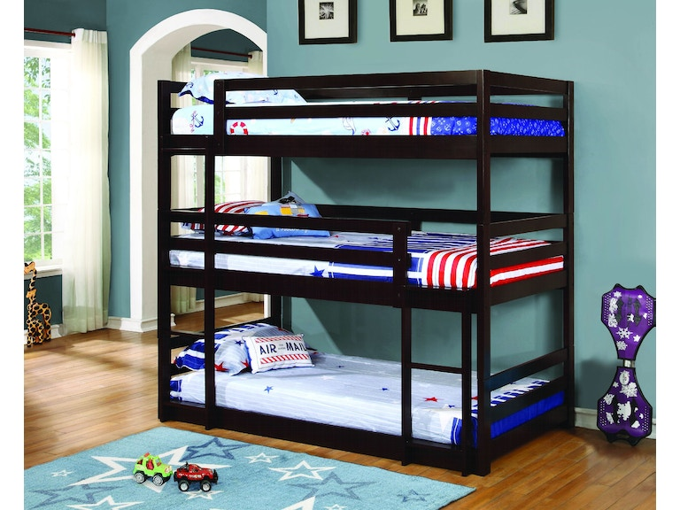 Coaster Youth Sandler Cappuccino Three Bed Bunk Bed 400302 Aminis