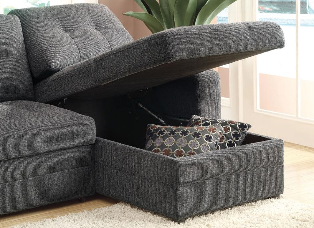 Coaster Gus Sectional Sofa With Tufts Storage And Pull Out Bed 501677