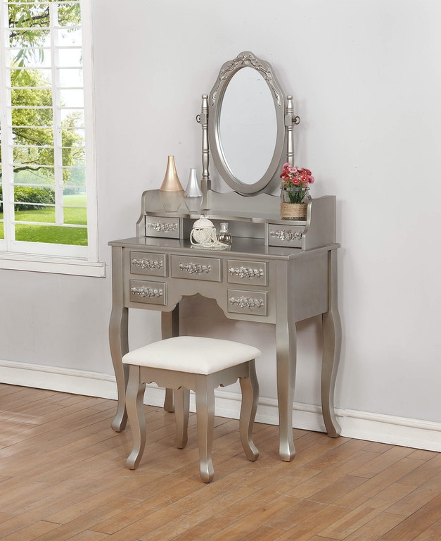 Coaster Bedroom Contemporary Metallic Silver Vanity Set 930137 Evans Furniture Galleries Chico