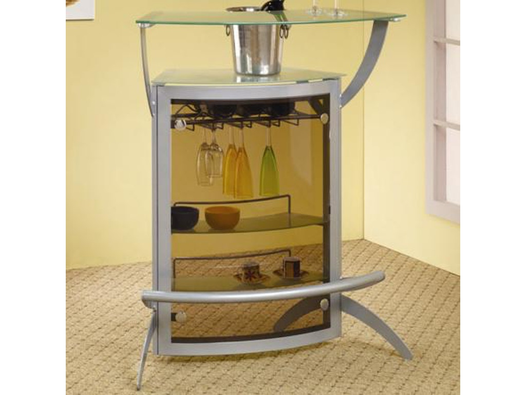Coaster Bar Unit Contemporary Silver Metal With Gl Top 100135